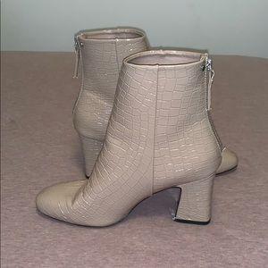 TOPSHOP Nude Patent Crocodile Boots